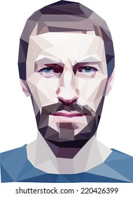 """Trendy """"low poly"""" style man head. Illustrated  concept"""