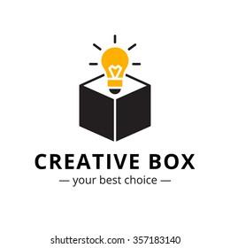 trendy minimalistic light bulb in a box logo