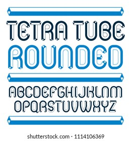trendy modern capital, uppercase English alphabet letters collection. Unlike rounded type font, script from a to z can be used for logo creation. Made using tetrahedral tetra tube design.