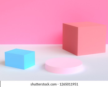 Trendy modern illustration Pink background. Abstract wallpaper. Geometric shapes. 3d rendering. Pastel. Banner. Poster backdrop. Minimal style.