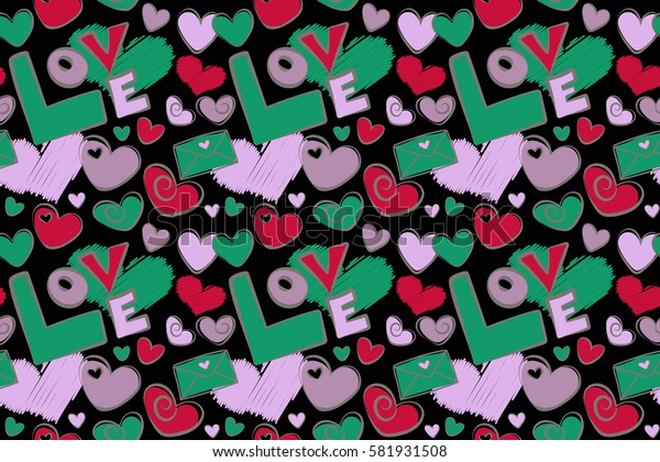 Trendy multicolor heart pattern for fabric, wrapping paper, cards on black background. Abstract cute heart pattern with hand drawn hearts, love text, letter in green and red colors.