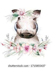 A trendy poster with awarthog . Watercolor cartoon wild boar savanna animal illustration. Jungle savannah tropical exotic summer print