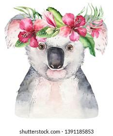 A trendy poster with a koala. Watercolor cartoon koala tropical animal illustration. Jungle exotic summer print.