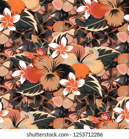 Trendy print in gray, beige and orange colors. Exquisite pattern with hibiscus flowers in vintage style. Beautiful pattern for decoration and design. Watercolor seamless pattern with hibiscus flowers.