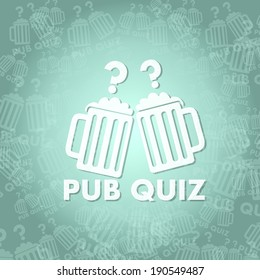 trendy pub quiz symbol background with space for own text