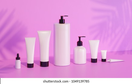 Trendy realistic mock up of cosmetics bottles and tubes on pink background. Modern bright still life bundle. 3d rendering template. Palm leaves shadows. Skin or hair care.