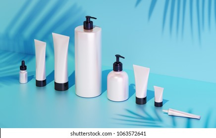 Trendy realistic mock up of cosmetics bottles and tubes on blue background. Modern bright still life bundle. 3d rendering template. Palm leaves shadows. Skin or hair care.