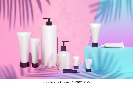 Trendy realistic mock up of cosmetics bottles, tubes and pink lipstick. Modern bright still life bundle. 3d illustration. Palm leaves shadows. Skin or hair care.