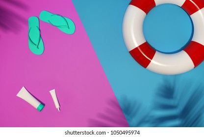 Trendy realistic mock up of cosmetics tubes for sun protection. Modern summer bright flat lay template on pink blue background. 3d illustration with flipflops, lifebuoy and palm leaves shadow over.