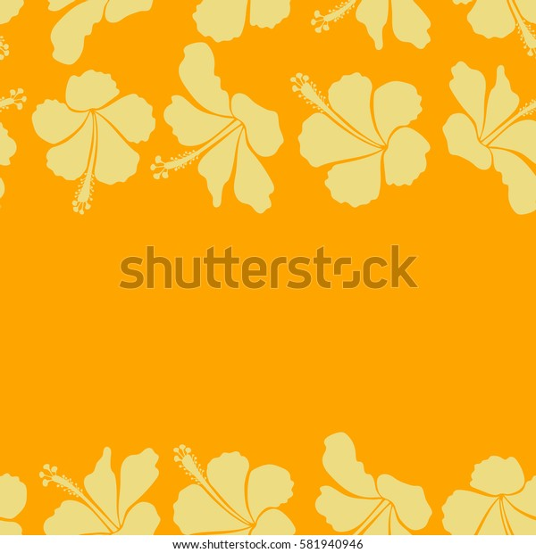 Trendy seamless floral pattern. Horizontal illustration with many yellow hibiscus flowers and copy space (place for your text).