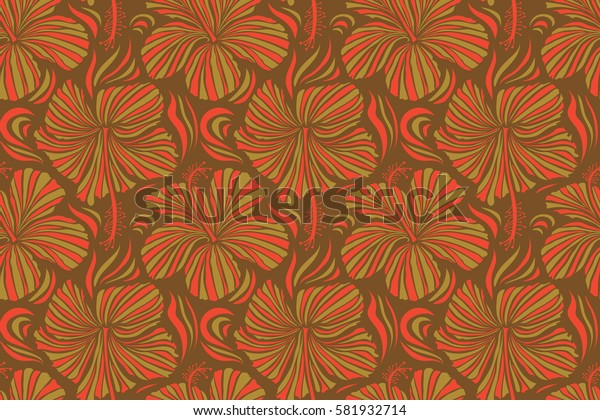 Trendy seamless floral pattern. Illustration with many yellow, brown and red hibiscus flowers.