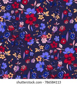 Trendy Seamless Floral Pattern on Blue Navy Background.