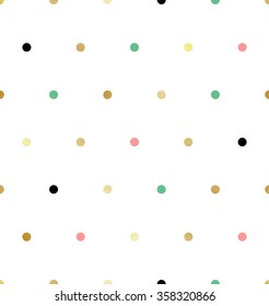 Trendy seamless glittering gold polka dot pattern with pink, green and black and golden-yellow small dots on white background. Can be used in web, printing or textile design.