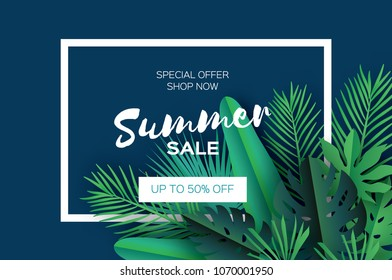 Trendy Summer Sale Template banner. Paper cut art Tropical palm leaves, plants. Exotic. Hawaiian. Text. Rectangle frame. Dark green jungle floral background. Monstera, palm.