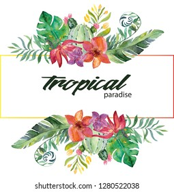 Trendy Summer Tropical Leaves and flovers. Watercolor