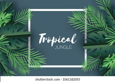 Trendy Summer Tropical palm leaves, plants. Paper cut style. Exotic Hawaiian summertime. Space for text. Square frame. Beautiful dark green jungle floral background.Monstera, palm.