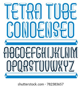 trendy vintage capital English alphabet letters collection. Special condensed type font, script from a to z best for use in logotype creation. Made with carton tube style, trigonometry design.