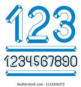 Trendy vintage digits, numerals collection. Retro numbers from 0 to 9 can be used in art  poster creation. Made using geometric tetra tube design.