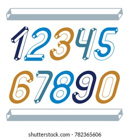 Trendy vintage digits, numerals collection. Retro italic numbers from 0 to 9 can be used in art  poster creation. Made with industrial 3d tetra tube design.