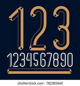 Trendy vintage digits, numerals collection. Retro condensed numbers from 0 to 9 can be used in art  poster creation. Created with carton tube style, trigonometry design.