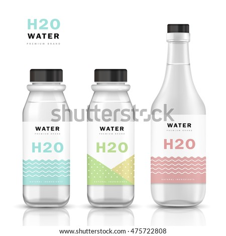 trendy water bottle template mockup templateのイラスト素材 475722808