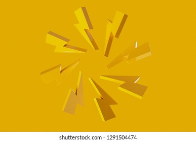Trendy yellow lightning bolt composition on yellow background. 3d illustration