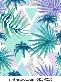 Trendy young tropical pattern with triangles, marbling, abstract geo background. Beautiful pale watercolor tints, amazing palms and greenery, seamless design.