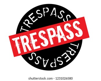 trespass stamp on white background. Sign, label, sticker.