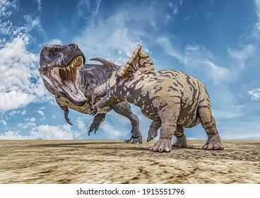 T-Rex against Triceratops, Tyrannosaurus rex against Triceratops, 3D-Rendering, illustrated