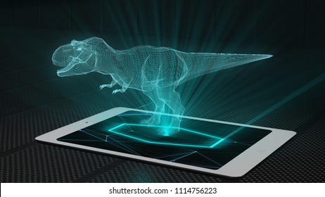 T-rex game projection futuristic holographic display hologram technology - Conceptual design 3d render
