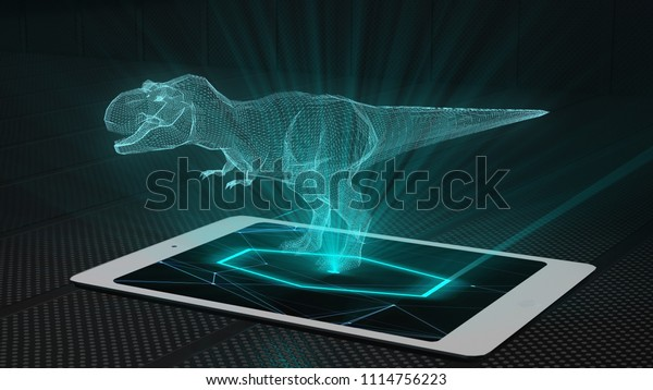 Trex Game Projection Futuristic Holographic Display Stock