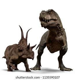t-rex vs diabloceratops 3d illustration