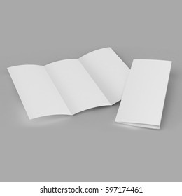 Tri fold brochure template white mock up 3d realistic rendering.