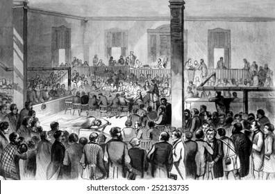 The trial of John Brown at Charlestown, Virginia, engraving from Harper's Weekly, 1859