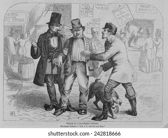 Trials of a wavering citizen, voter pulled in two directions by politicians. At left, dressed in tophat and suit is the 'nativists,' at right, the Irish politician. New York City, November 1857.