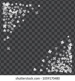 Triangle corner white frame or border of random scatter transparent clover leaves. St. Patricks day design for festive banner, greeting card, postcard, invitation, flyer, poster.