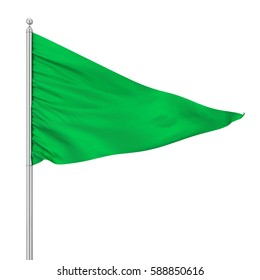 Triangle flag. 3d rendering isolated on white background