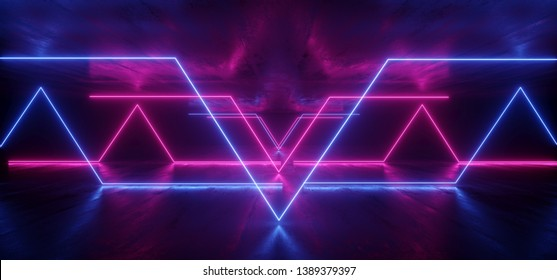 Triangle Neon Glowing Sci Fi Futuristic Background Alien Spaceship Vibrant Fluorescent Laser Show Stage Dark Grunge Concrete Purple Blue Pink Reflection Gate X Shaped Lights Led 3D Rendering