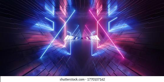 Triangle Neon Laser Blue Purple Tunnel Corridor Textured Realistic Modern Alien Spaceship Underground Garage Warehouse Dark Virtual Synth Background 3D Rendering Illustration