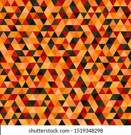 Triangle pattern. Seamless background with red, peach, black, orange, pumpkin equilateral triangles