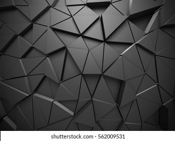 Triangle Poligon Pattern Metallic Wall Background. 3d render illustration