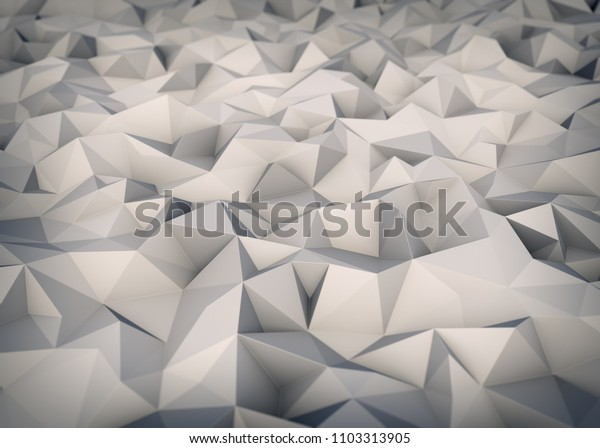 Triangle Polygon White Surface Geometric Background. 3D Illustration. Low Poly Graphics Backdrop.
