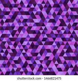 Triangle purple pattern. Seamless background with amethyst, lavender, plum, purple, violet triangles