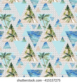 triangle seamless pattern with palms, grunge and watercolor textures. Abstract geometric background in 80`s or 90`s style. Summer background with scribble and marble texture. Hand painted illustration