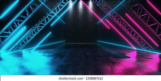 Triangle Shaped Neon Glowing Stage Metal Structure Studio Empty Space Dance Cyberpunk Retro Sci Fi Futuristic Grunge Concrete Reflections Purple Ultraviolet Blue Vibrant 3D Rendering Illustration
