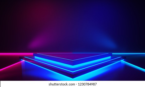 Triangle stage with and and purple neon  light ,abstract futuristic background,ultraviolet  concept,3d render