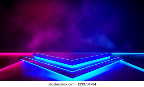 Triangle stage with smoke and and purple neon  light ,abstract futuristic  background,ultraviolet  concept,3d render