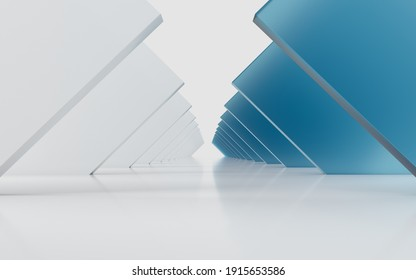 Triangle tunnel with cubes on sides, 3d rendering. Computer digital drawing.