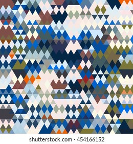 Triangles and Diamonds Pattern in Blues, Greens, Tans, Orange, Browns