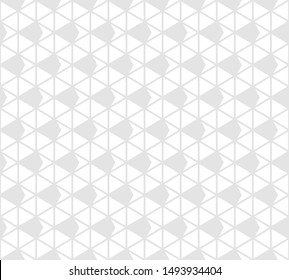 Triangles seamless pattern. Subtle raster abstract geometric texture with triangular grid, net, lattice, mesh, rhombuses. Simple white and light gray graphic background. Stylish modern repeat design